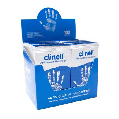 Clinell Antibacterial Hand Wipe Sachets (Box of 100)