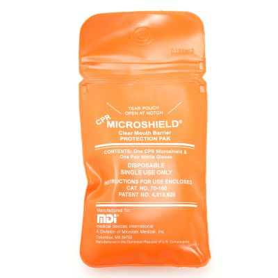 Microshield CPR Barrier with Tamper Evidence Pouch & Gloves