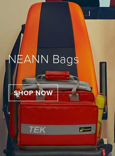 A red NEANN Pro 2 Tek Bag has been placed on a black and orange ambulance seat.