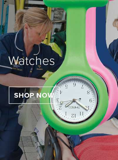 A female nurse overseeing a patient. In front is a green, pick & blue silicone analogue fob watch.