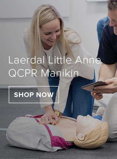 A female practicing CPR on a laerdal little anne QCPR Manikin.